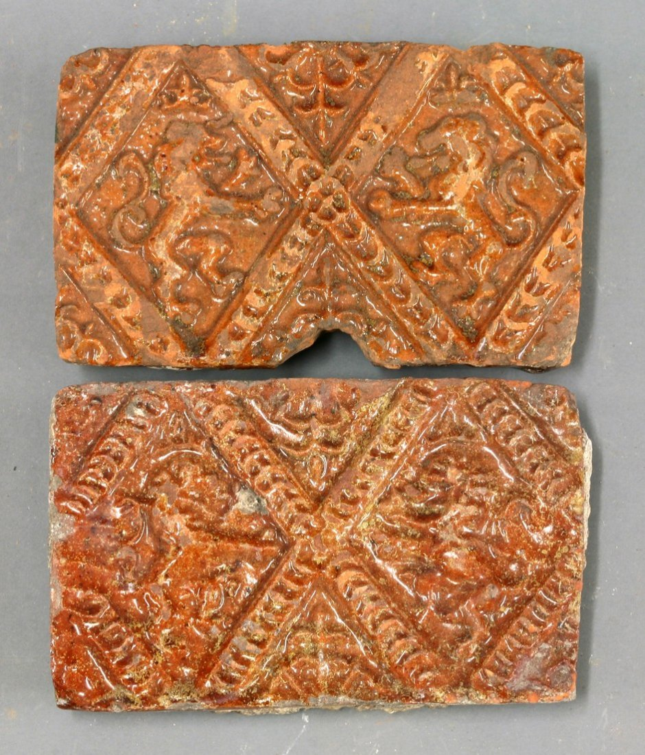 Two Tiles,   13th-15th century, each with a lion
