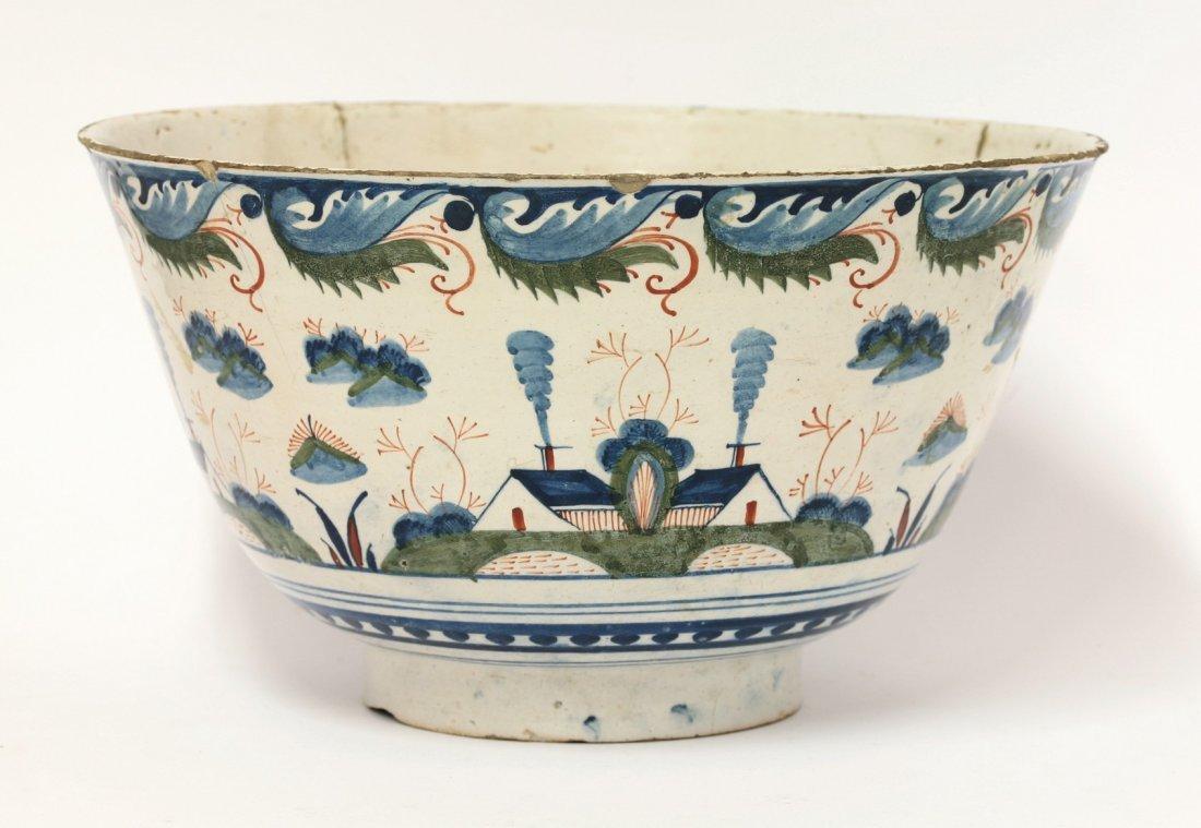 A Bristol delftware polychrome deep Bowl, c.1720, the