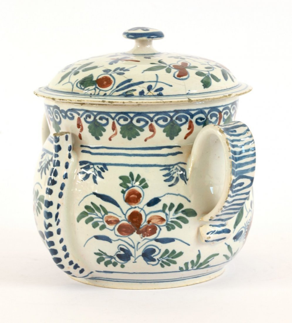 A Bristol delftware Posset Pot and Cover, early 18th