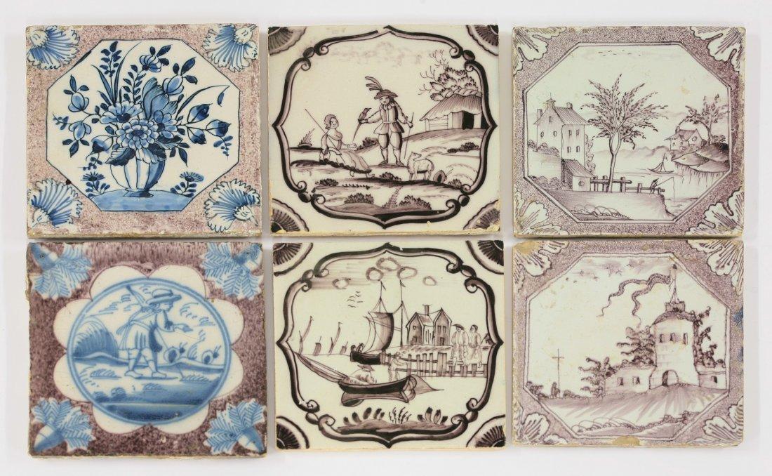 Six English delftwareTiles, mid 18th century, four