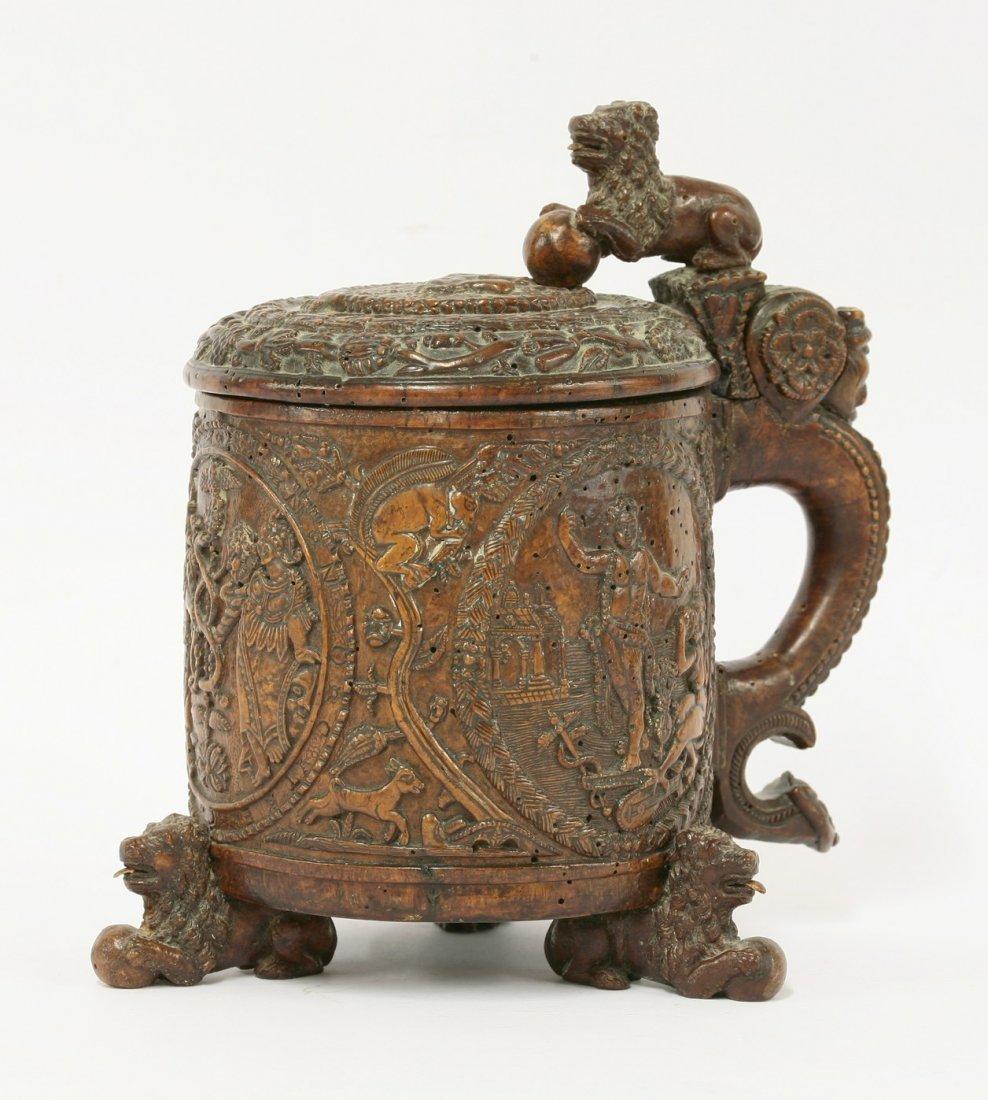 A Norwegian burr birch tankard, late 17th century and