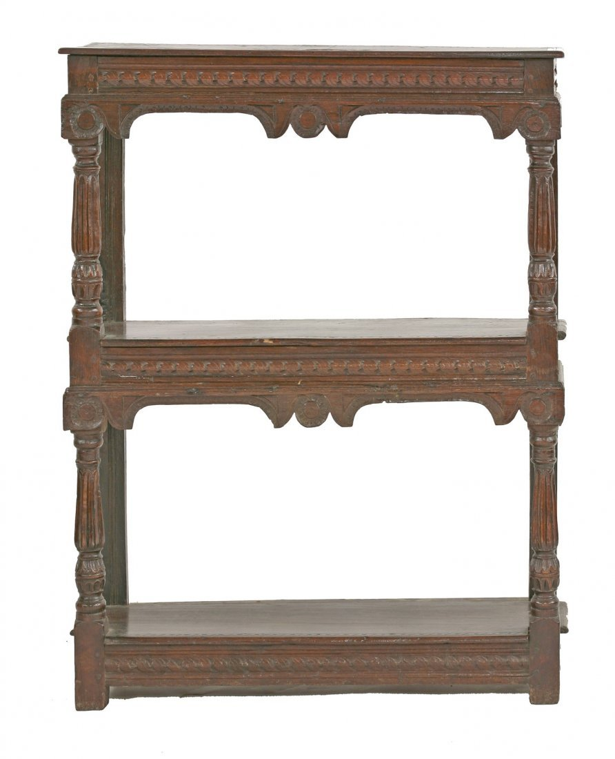 An oak three-tier buffet, 17th century and later, each