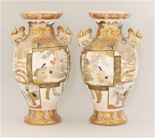 A good pair of Kutani Vases, c.1885, each ovoid body