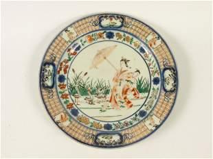 A Cornelius Pronk Arita porcelain Plate, c.1700, the