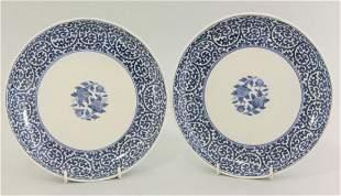 A pair of Arita blue and white Plates, c.1750, each