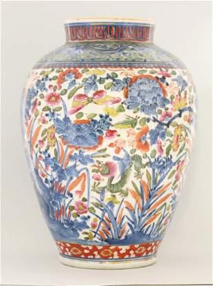 An Arita porcelain Vase, c.1700, later enamelled in