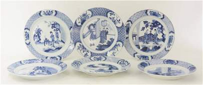 Six Kangxi blue and white Plates, 17th/18th century, a