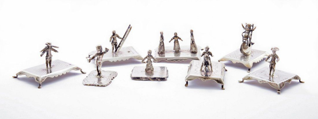 A collection of eight Dutch silver miniatures, late