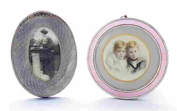 A Continental silver photograph frame, of pale grey