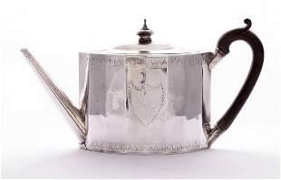 A George III silver teapot, by Charles Aldridge, London