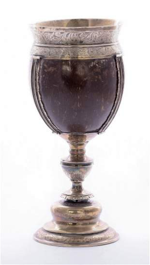 A silver mounted coconut cup, unmarked, 19th century,