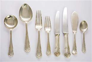 A silver dubarry pattern flatware service, by Carr's of