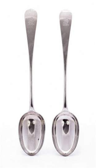 A pair of Victorian silver old english pattern basting