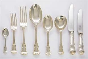 A silver princess pattern flatware service, by Garrard