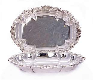 A pair of silver entrée dishes, by C S Harris & Sons