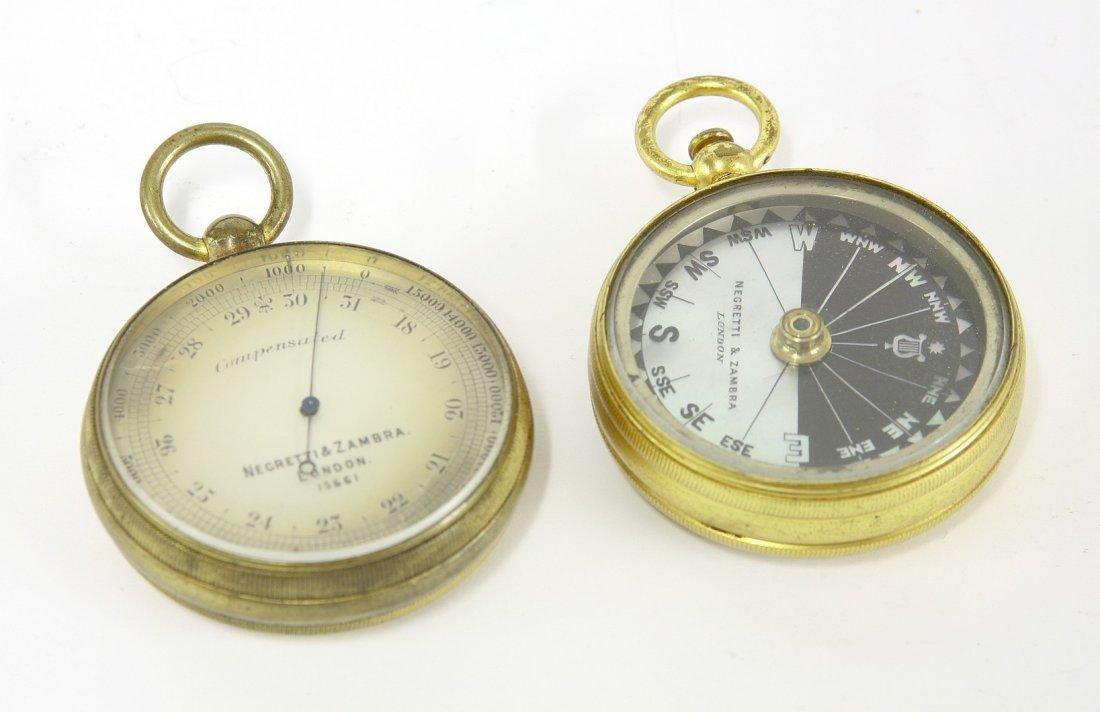 A Negretti & Zambra pocket compass, barometer and - 2