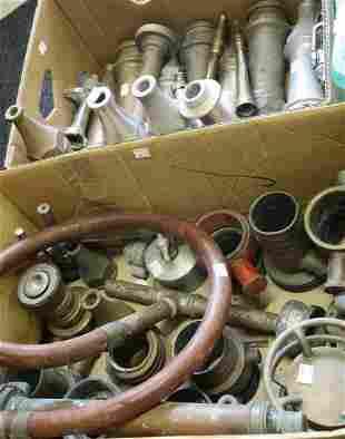 Eighteen various brass, aluminium and chrome nozzles,