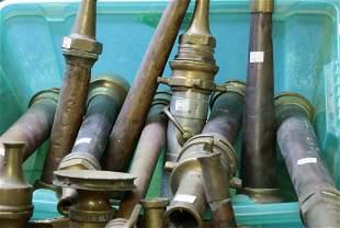 Nine copper, brass and aluminium nozzles, manufacturers