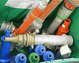 Eight aluminium and synthetic nozzles, including two
