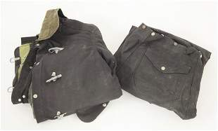 A two-piece bodyguard fireproof suit, made from heavy
