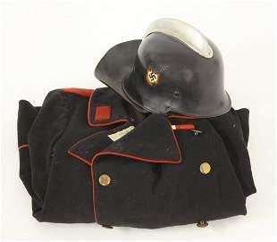 A World War 2 German fire brigade tunic and helmet,