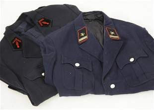 Two French and German four pocket fire brigade jackets,