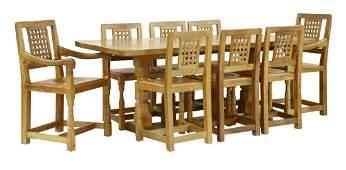 A Robert Mouseman Thompson oak dining suite
