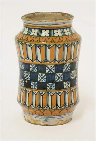 A copper lustre Albarello, probably 16th century and