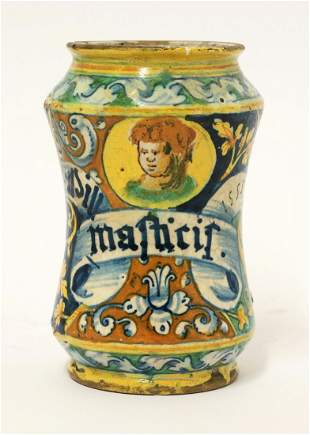 A dated maiolica Albarello, 1555, painted with a