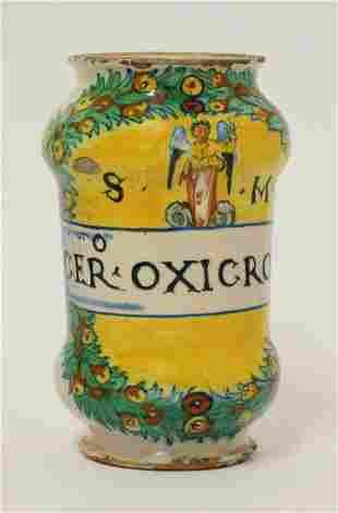 A Deruta maiolica Albarello, late 16th century, the