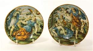 Two Castelli Saucers, mid 18th century, each of deep