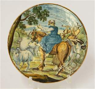 A Castelli maiolica Plate, c.1740, attractively