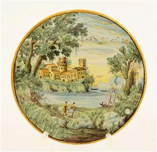 An attractive Castelli maiolica Plate, c.1730, painted