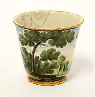 A rare Castelli Tea Bowl, c.1740, painted with a