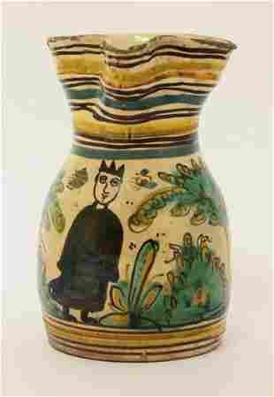A Talavera Jug, early 19th century, the body amusingly