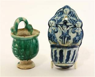 OTHER TIN-GLAZED EARTHENWARE A Benetier, 17th