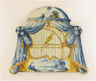 A rare Dutch delft Plaque, c.1800, moulded and