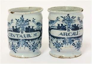 A pair of Dutch delft miniature Dry Drug Jars,