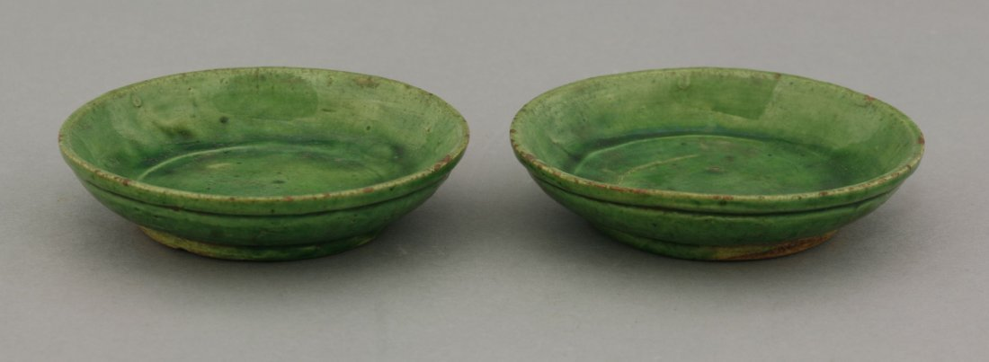 A pair of small green-glazed Dishes,  AFCTang-Liao