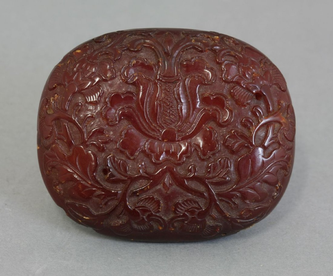 A fine amber small Plaque,  AFCprobably Kangxi, 17th