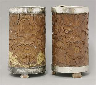 An interesting pair of silver-mounted, Indian bamboo