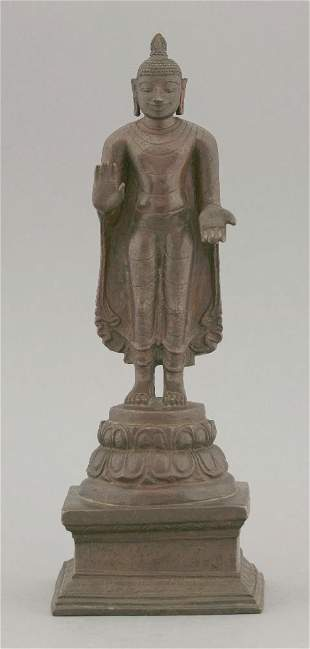 A bronze standing Buddha,Chola Period, 12th/13th