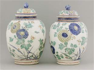 An attractive pair of ko-Imari Jars and Covers, c.1670,