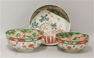A set of three graduated Arita Bowls, c.1900, each