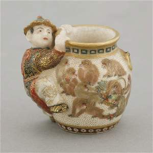 A rare miniature Kyoto 'Satsuma' jar, c.1885, the