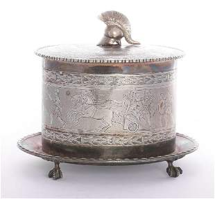 A Victorian silver-plated biscuit barrel,by Elkington &