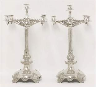 A pair of silver-plated four branch candelabra, by