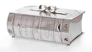A late Victorian silver-plated novelty biscuit box, by