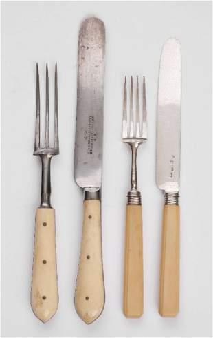A set of six pairs of Victorian bone handled steak