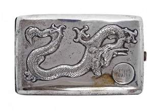 A Chinese export silver cigarette case, stamped with